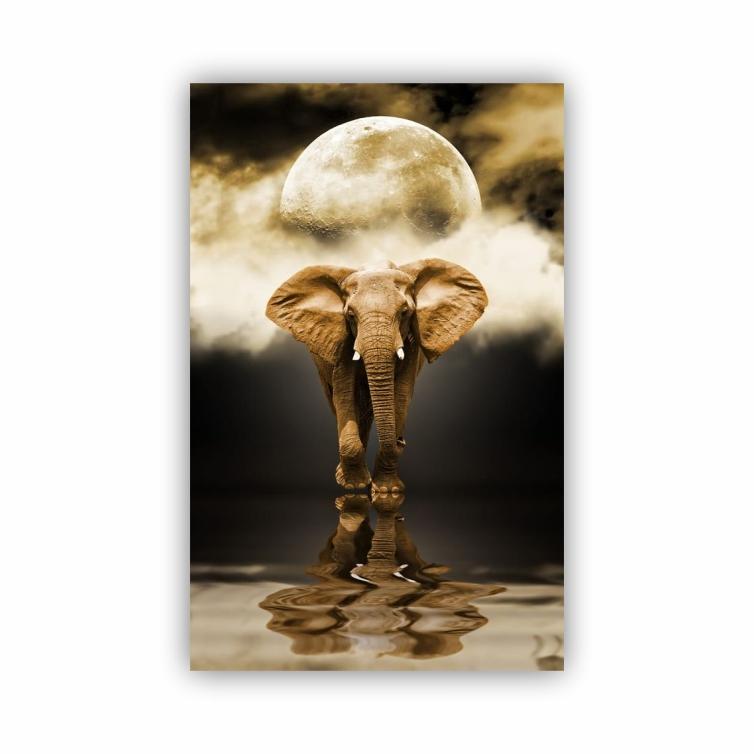 Quadro Elefante Vertical Noite Luar - Tela Única