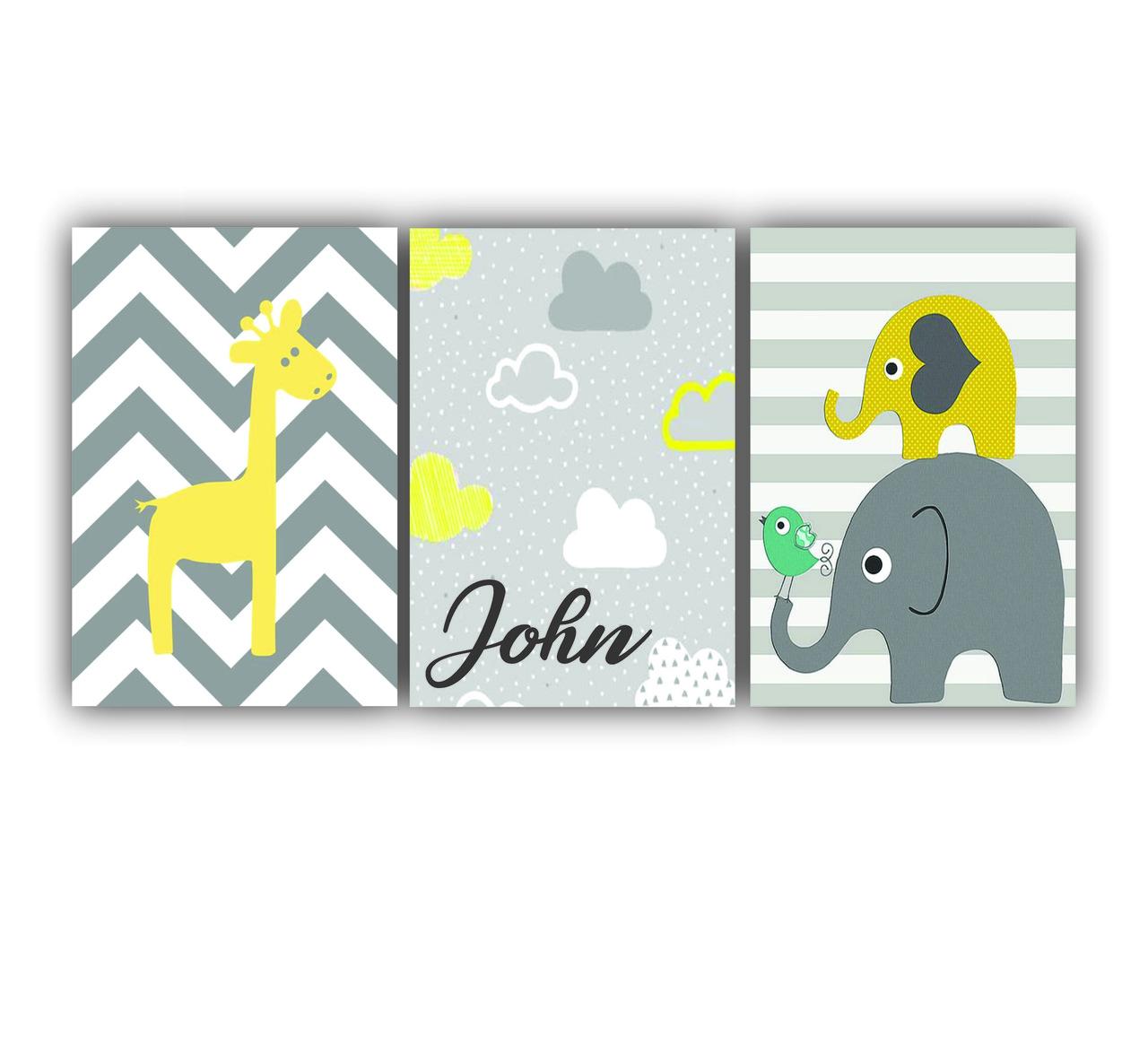 Quadro  Elefantinho Menino Amarelo e Cinza  - Kit 3 telas