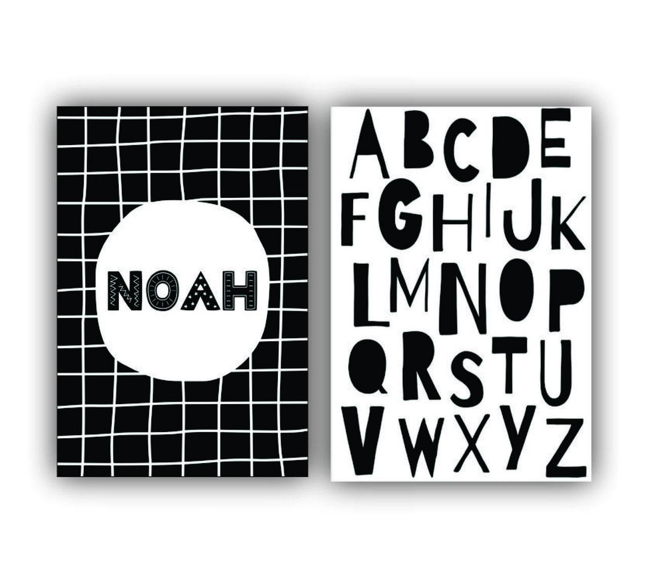 Quadro Escandinavo Letras e Nome - Kit 2 telas