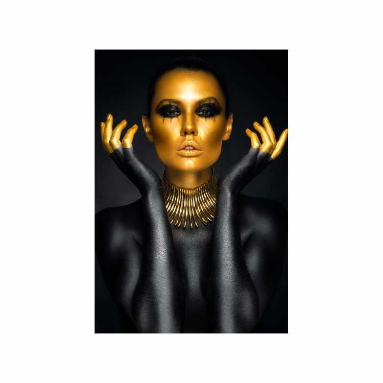 Quadro Face Mulher Preto e Dourado - Tela Única