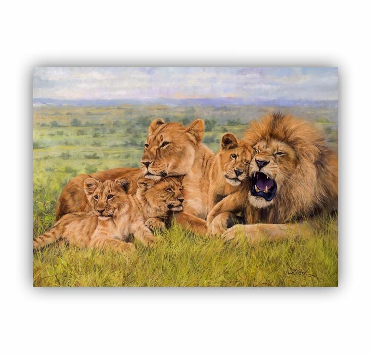 Quadro Família de Leão 3 Filhotes Luxo - Tela Única