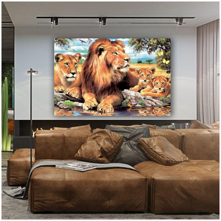 Quadro Família de Leão Pintura Artística - Tela Única