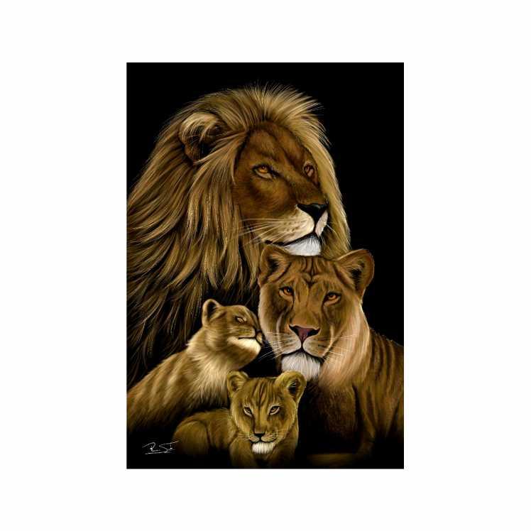 Quadro  Família Leão 2 Filhotes - Tela Única