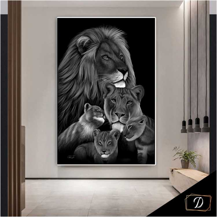 Quadro  Família Leão 3 Filhotes Preto e Branco - Tela Única