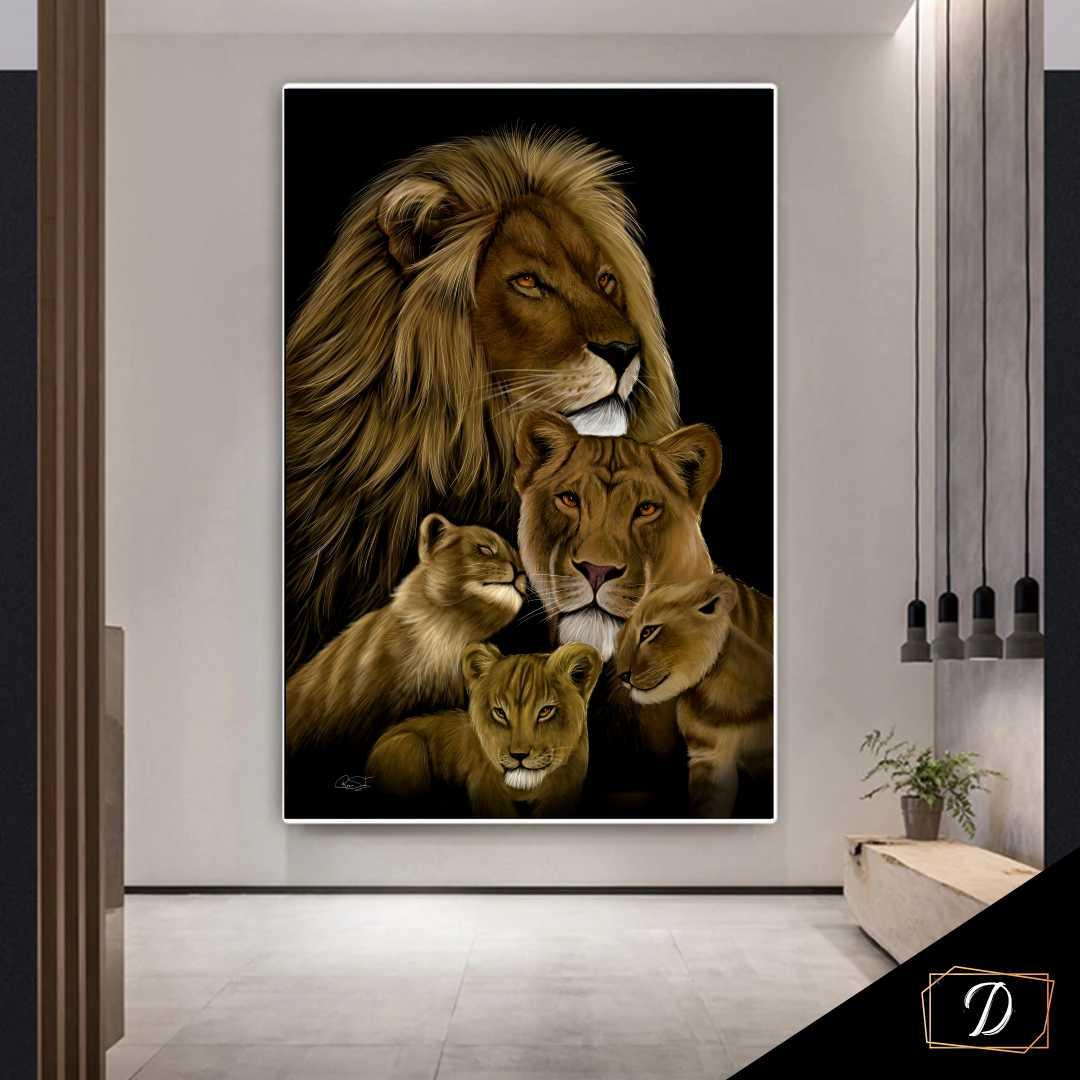 Quadro  Família Leão 3 Filhotes - Tela Única