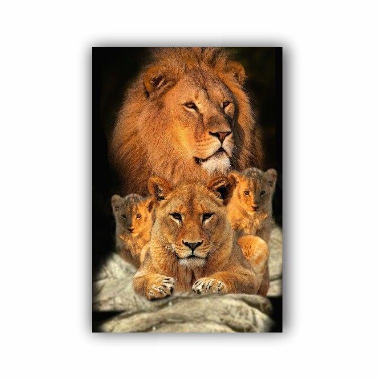Quadro Família Leão Black Vertical - Tela Única