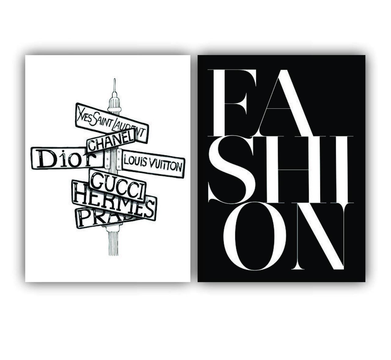 Quadro Fashion Preto e Branco -  Kit 2 telas