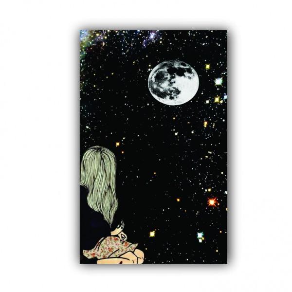 Quadro Feminino Céu Estrelado Pensamento - Tela Única
