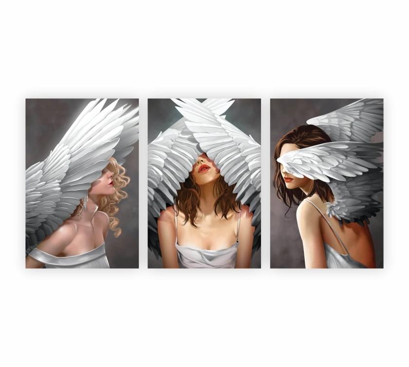 Quadro Feminino Mulher Angel - Kit 3 telas