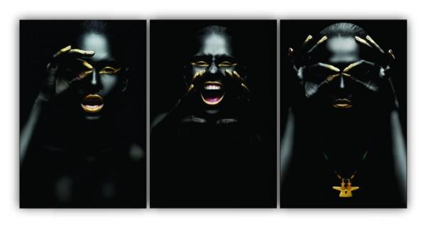 Quadro Feminino All Black  - Kit 3 telas