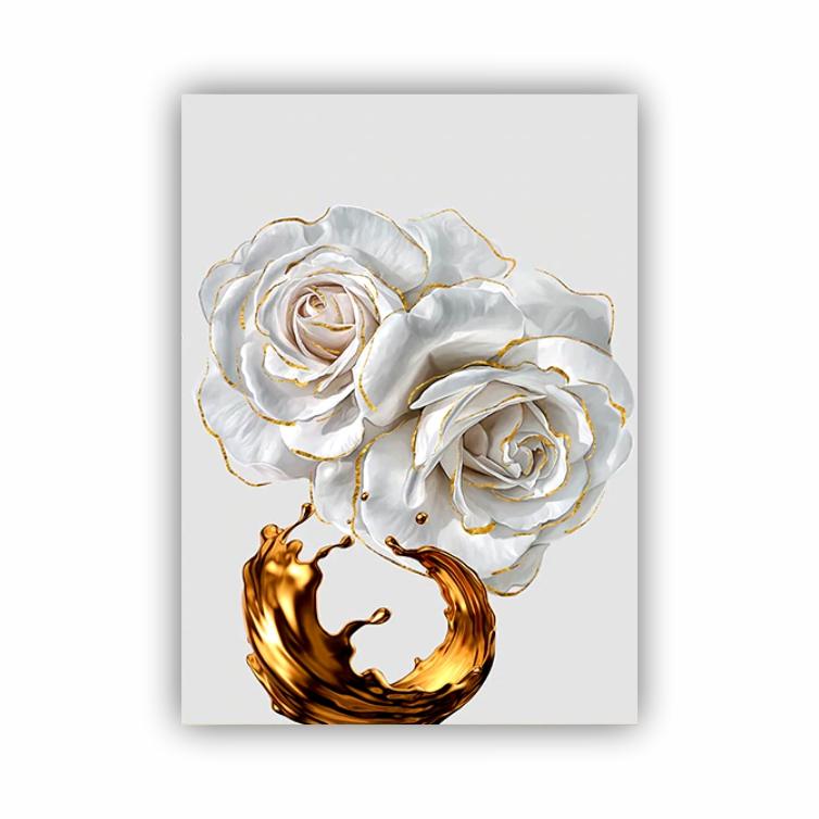 Quadro Flor Branca e Dourado Luxo - Tela Única