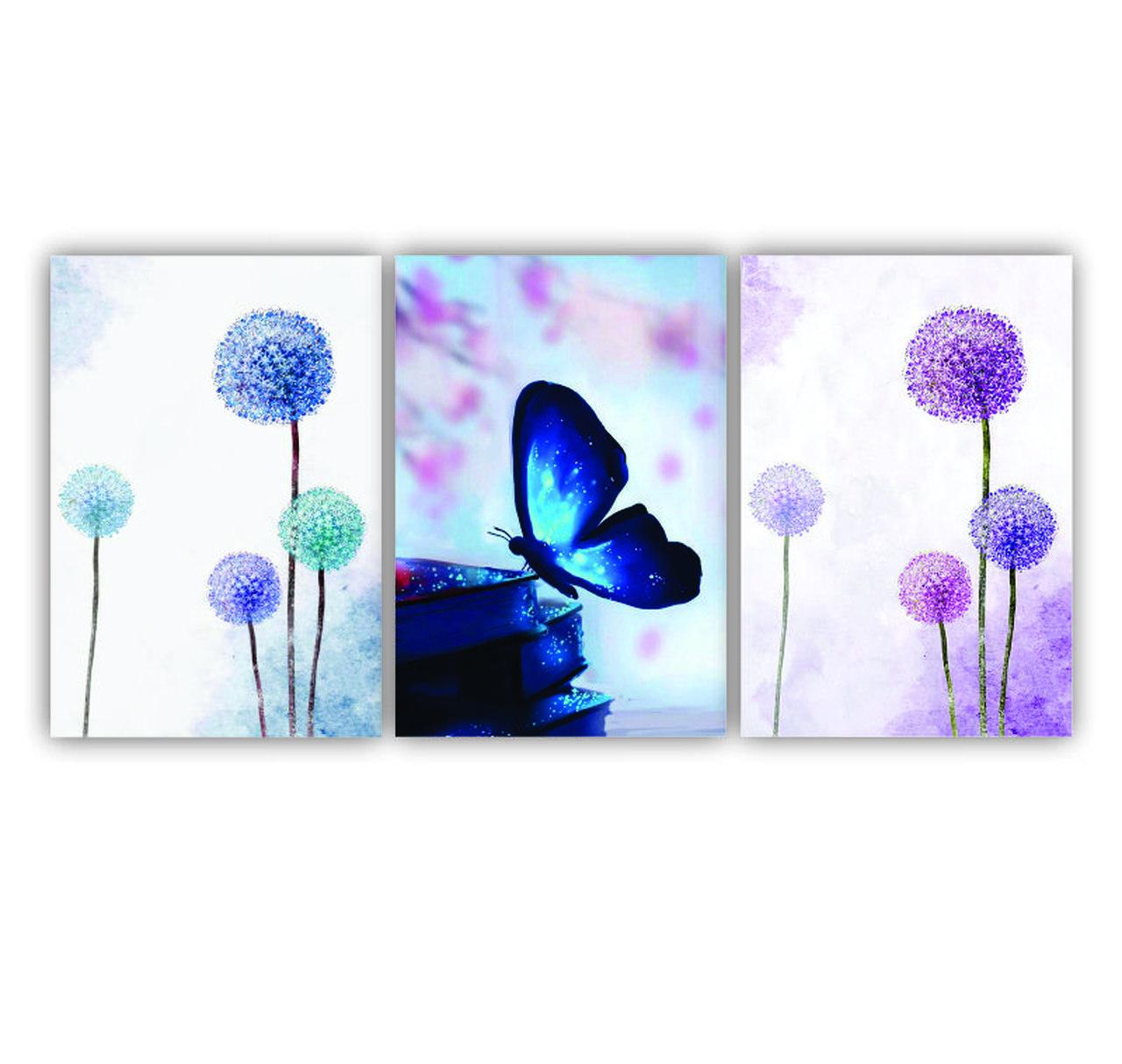 Quadro Flor e Borboletas Azul e Lilás Delicado - Kit 3 telas