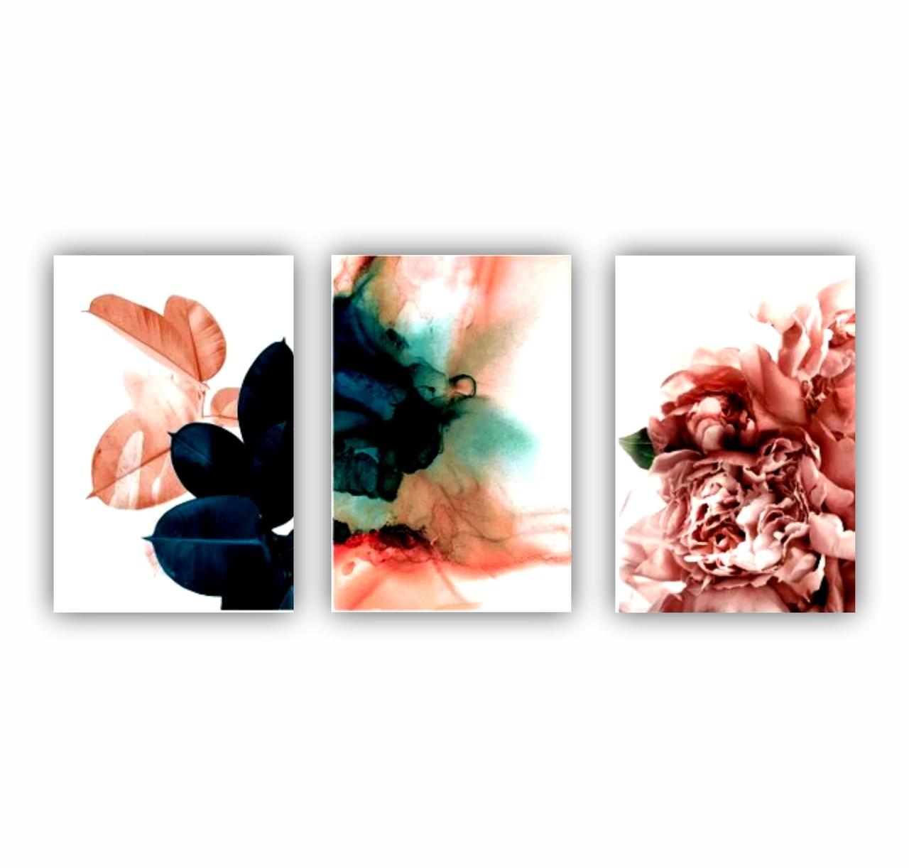 Quadro Flores e Folhas Abstrato Rosa - Kit 3 telas