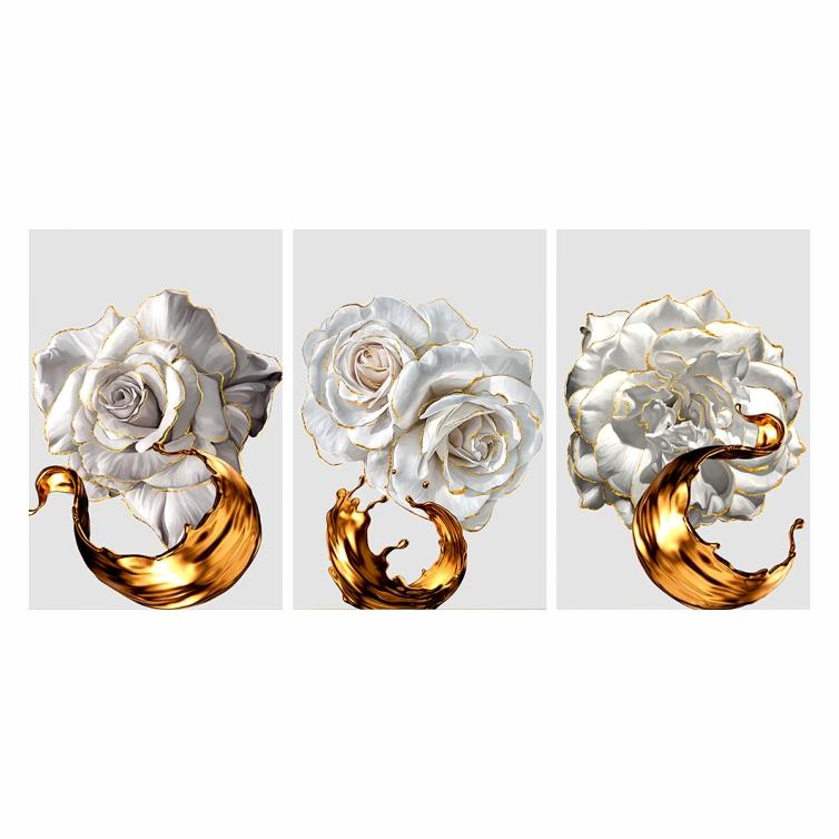 Quadro Flores Luxo Branco e Dourado - Kit 3 telas