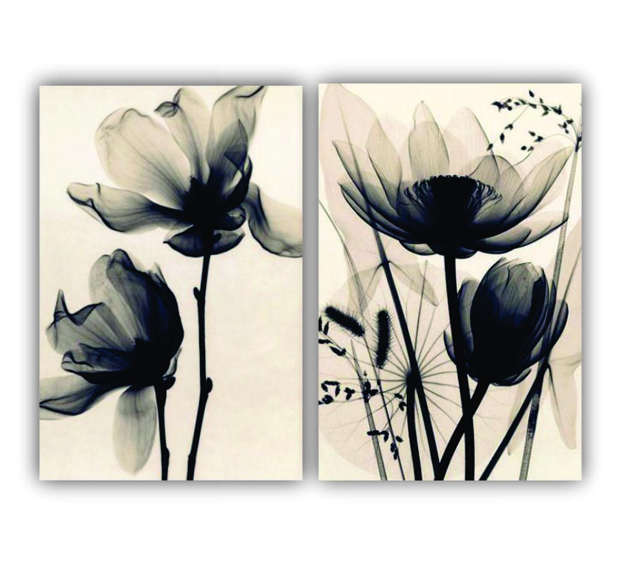 Quadro Flores Minimalista Efeito Desenho - Kit 2 telas