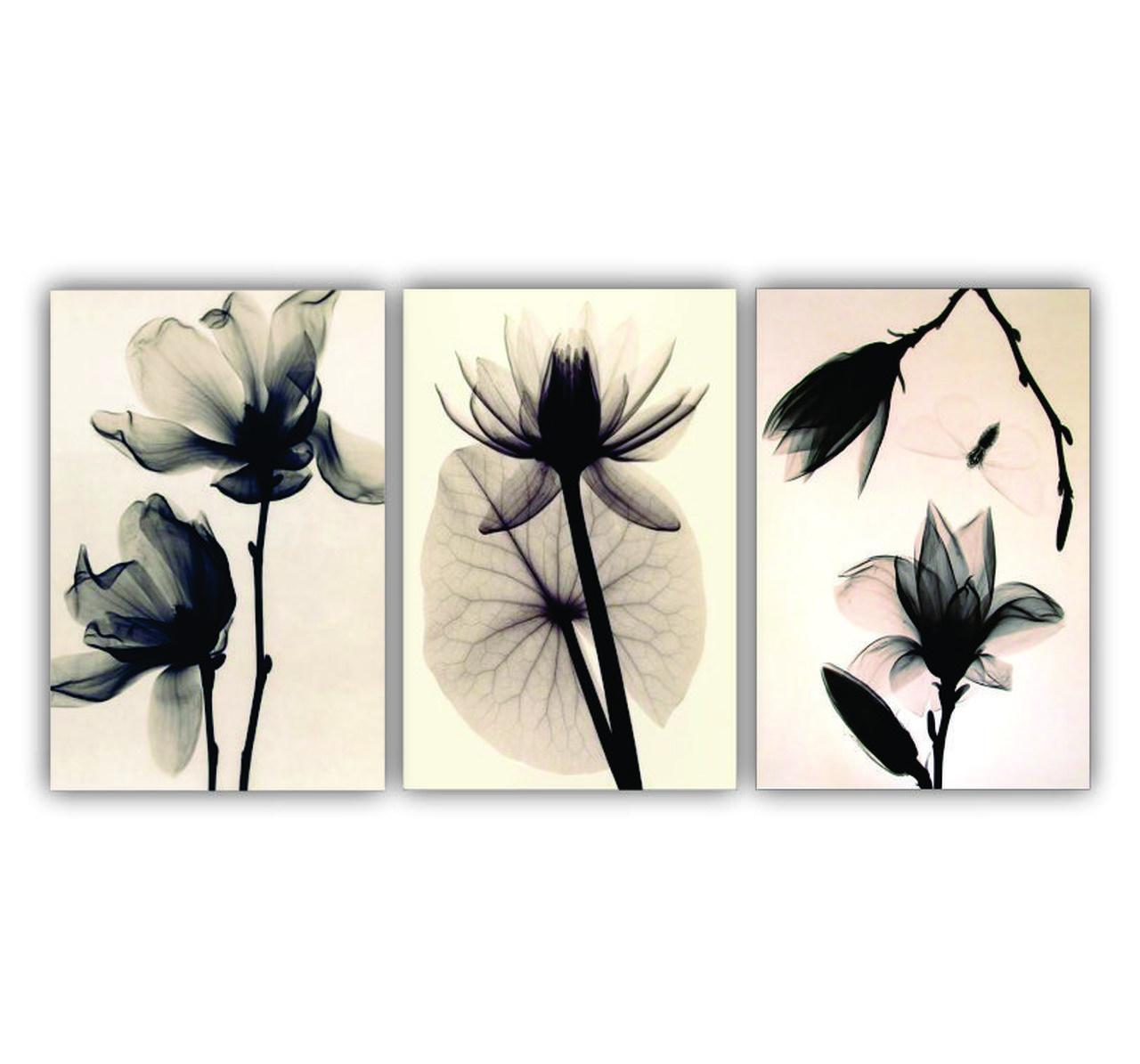 Quadro Flores Rose Minimalista Nude Luxo - Kit 3 telas