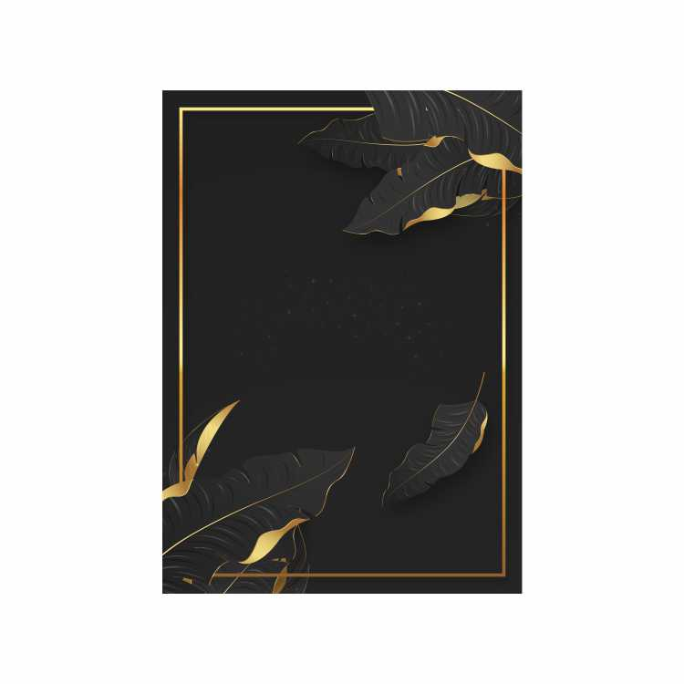 Quadro Folha Sutileza Preto e Dourado - Tela Única