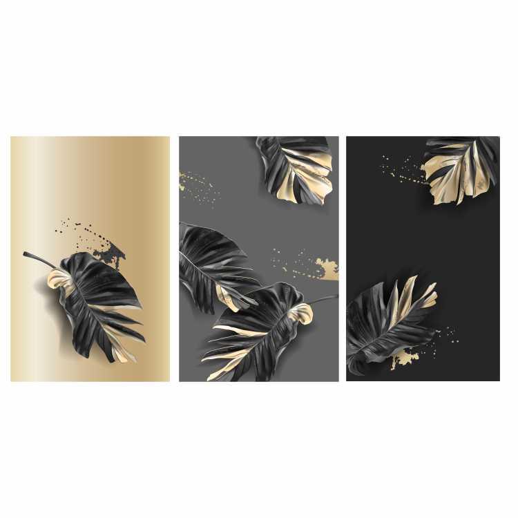 Quadro Folhas  Cinza Dourado e Preto - Kit 3 telas