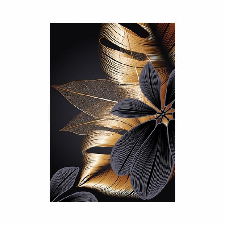 Quadro Folhas e Flor Preto e Dourado Luxo - Tela Única