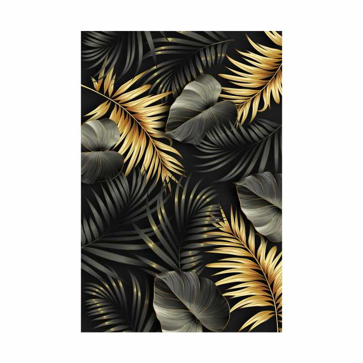 Quadro Folhas Total Preto e Dourado - Tela Única