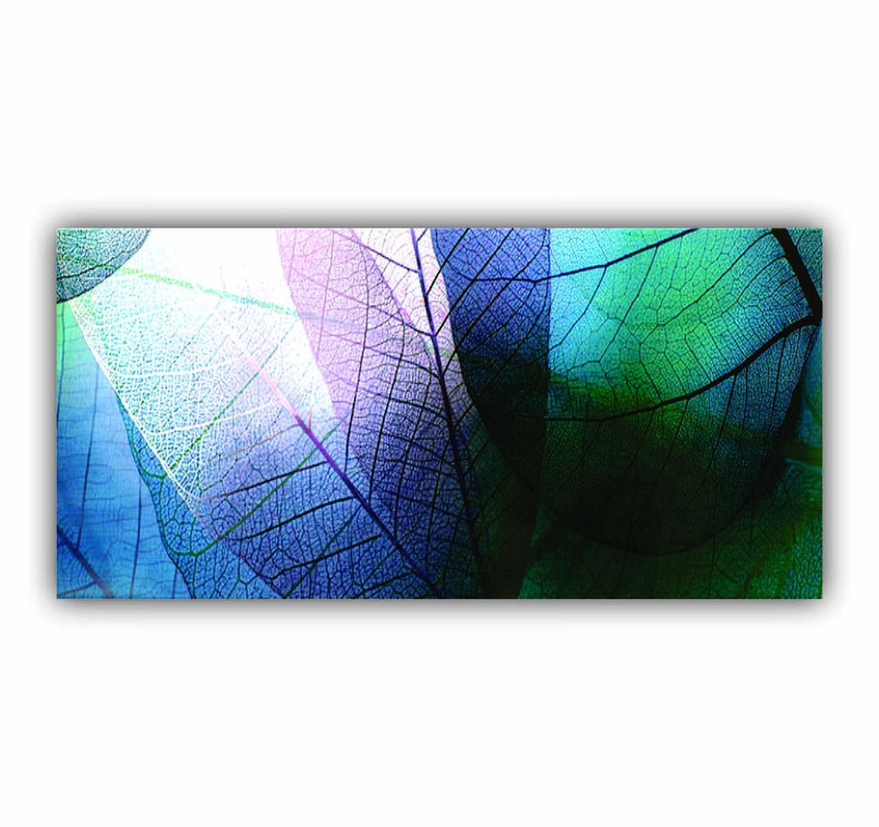 Quadro Folhas Veia Tons de Azul - Tela Única