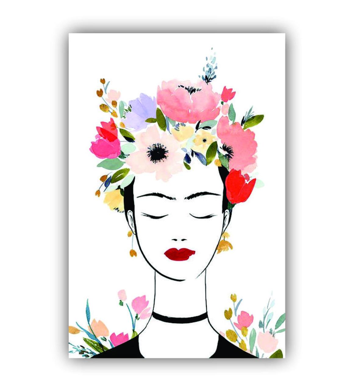 Quadro Frida Kahlo Feminino Delicado Empoderamento - Tela Única