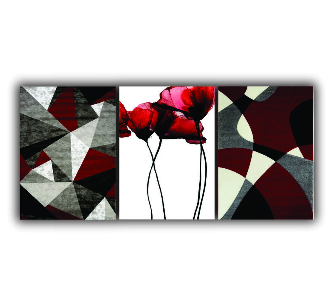 Quadro Geométrico Abstrato Vermelho Marsalla Flor - Kit 3 telas