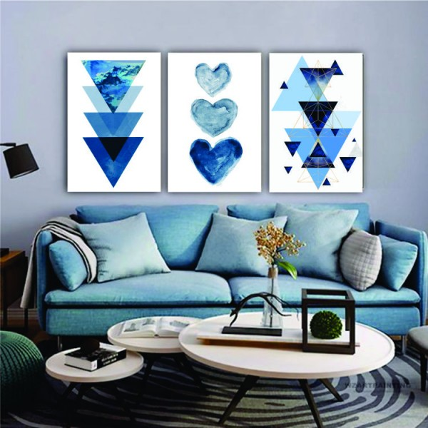 Quadro Geométrico Azul Branco Coração  - Kit 3 telas