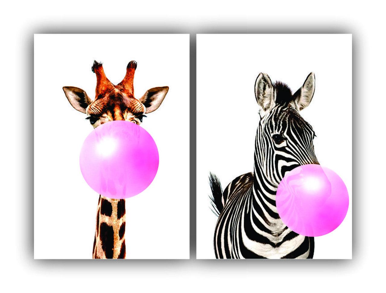 Quadro Girafa e Zebra com Chiclete - Kit 2 telas