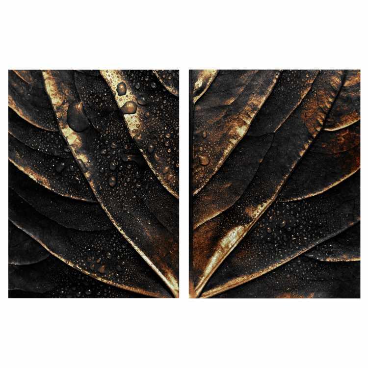 Quadro Gotas de Orvalho Luxo Preto e Dourado -  Kit 2 telas
