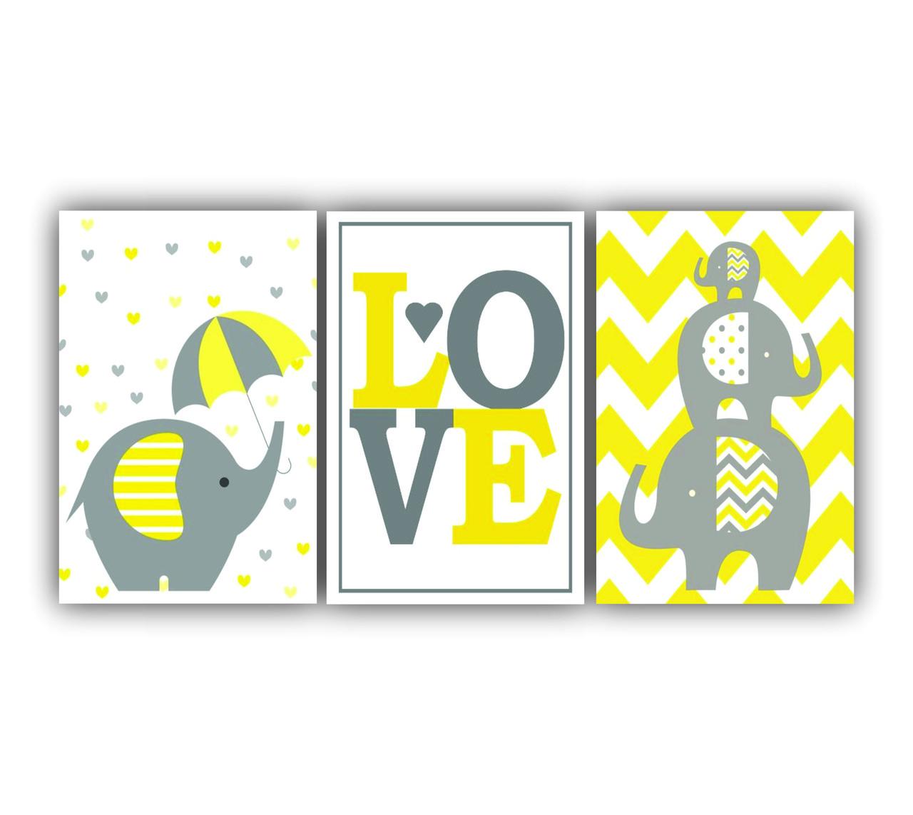 Quadro Infantil Love e Elefantinho Chevron Amarelo - Kit 3 telas