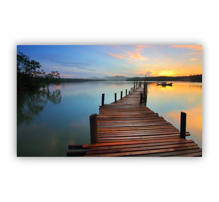 Quadro Lago Deck Natureza Tranquilidade - Tela Única