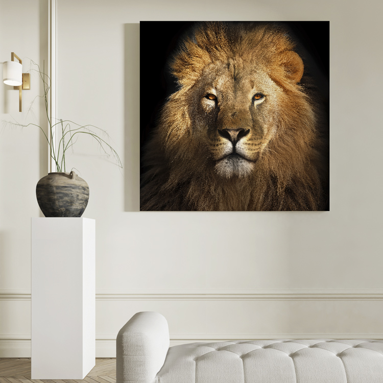 Quadro Leão Africano Quadrado - Tela Única