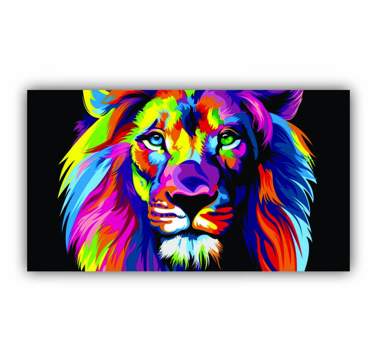 Quadro Leão Da Tribo de Judá Colorido Moderno - Tela Única