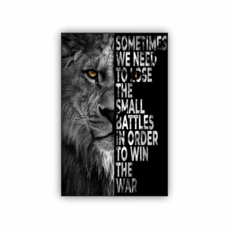 Quadro Leão Motivacional Frase 3 - Tela Única
