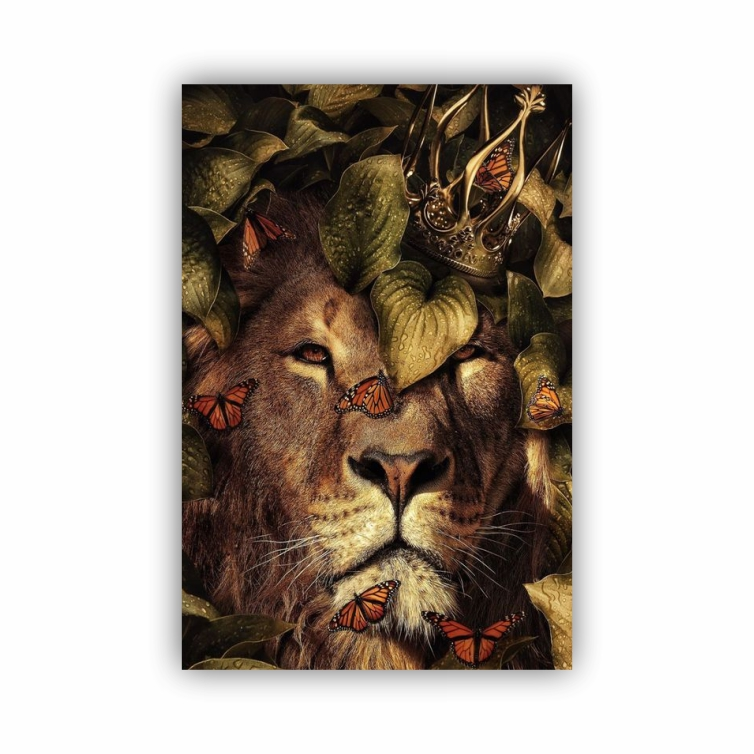Quadro Leão Rei Natureza Borboletas - Tela Única