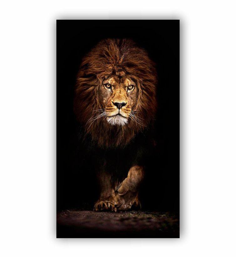 Quadro  Leão Rei Vertical - Tela Única