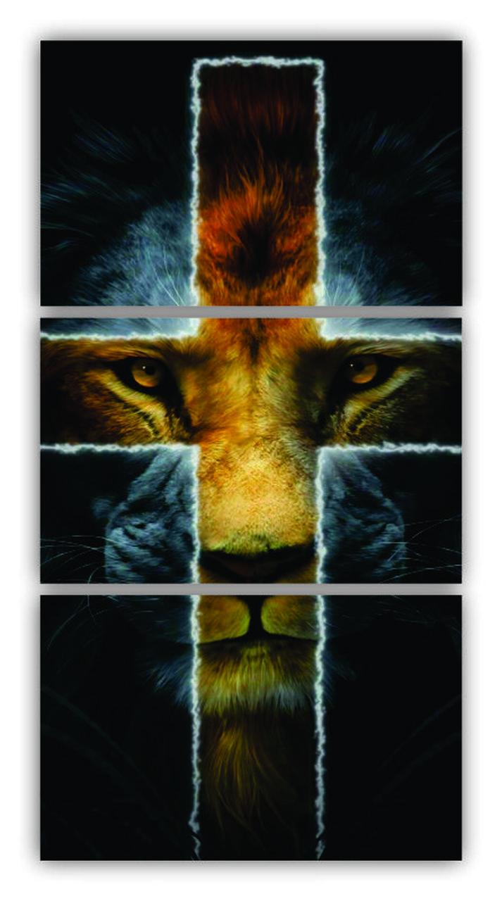 Quadro Leão Tribo de Judá Vertical - Kit 3 telas
