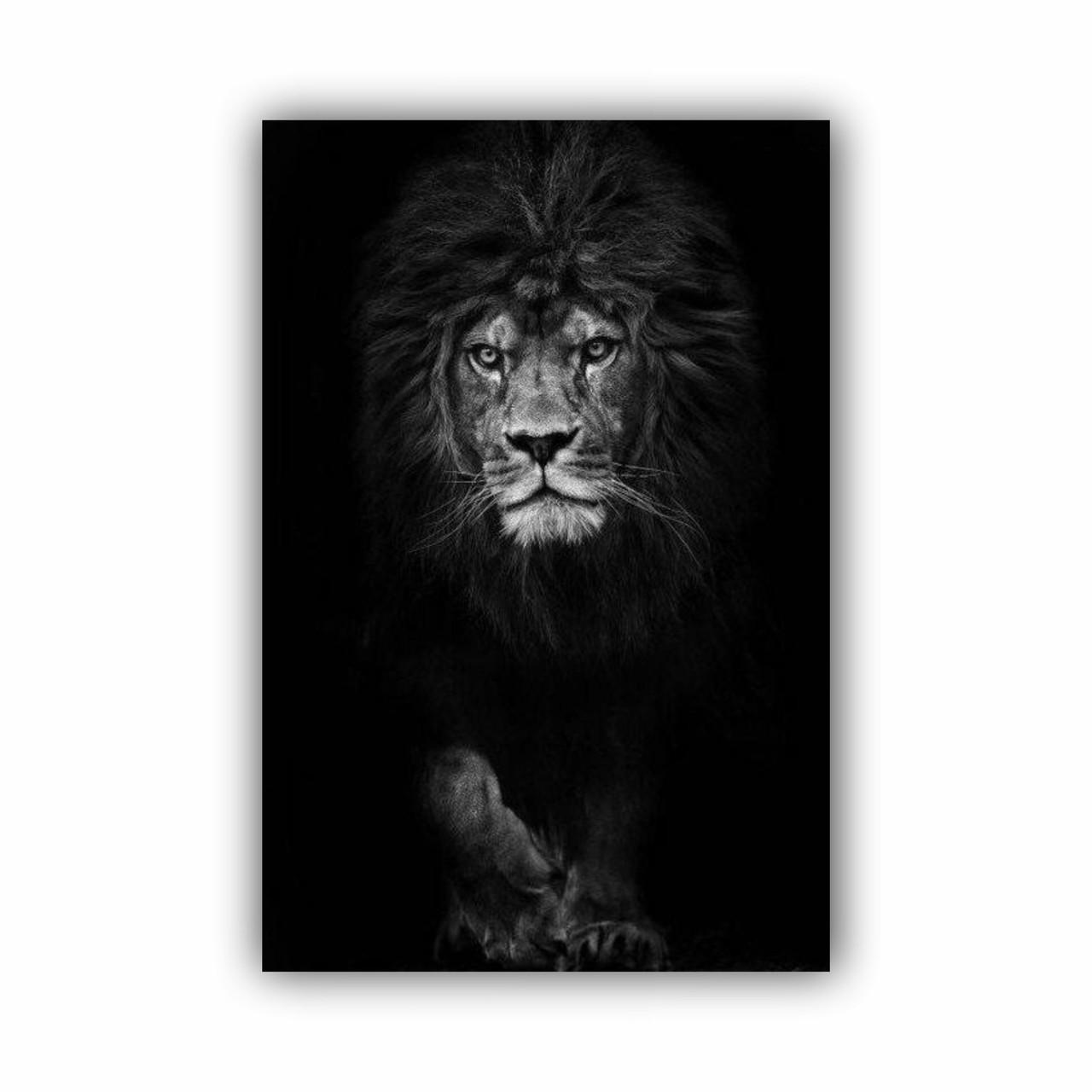 Quadro Leão Vertical Preto e Branco Coleção Savana Decor - Tela Única