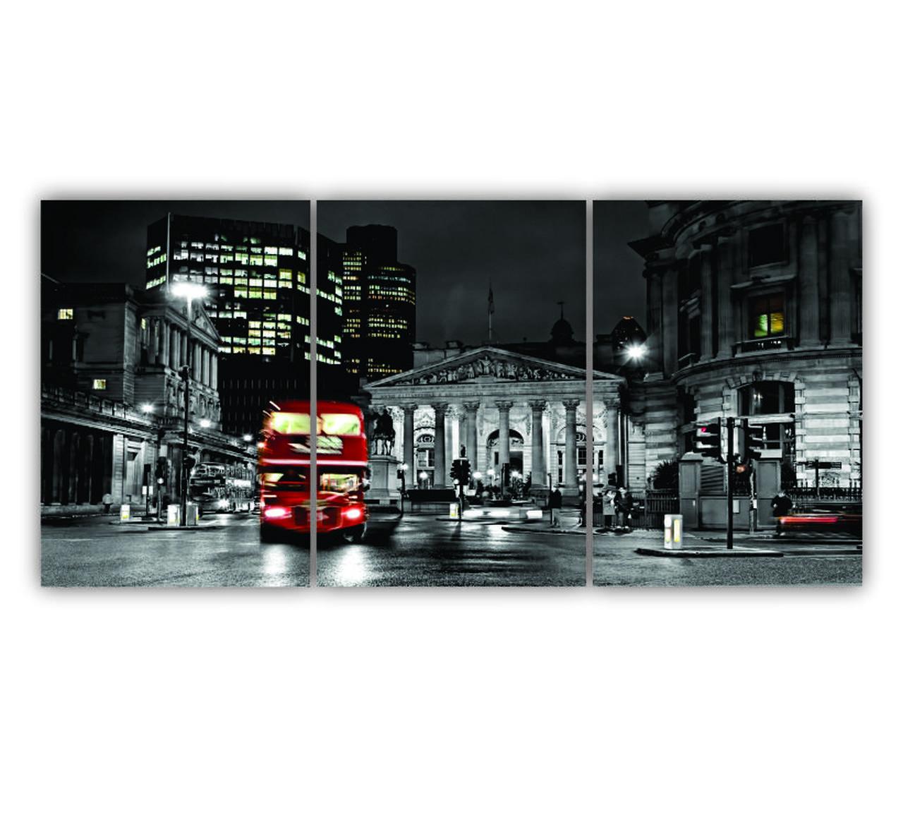 Quadro Londres Ônibus Vermelho - Kit 3 telas