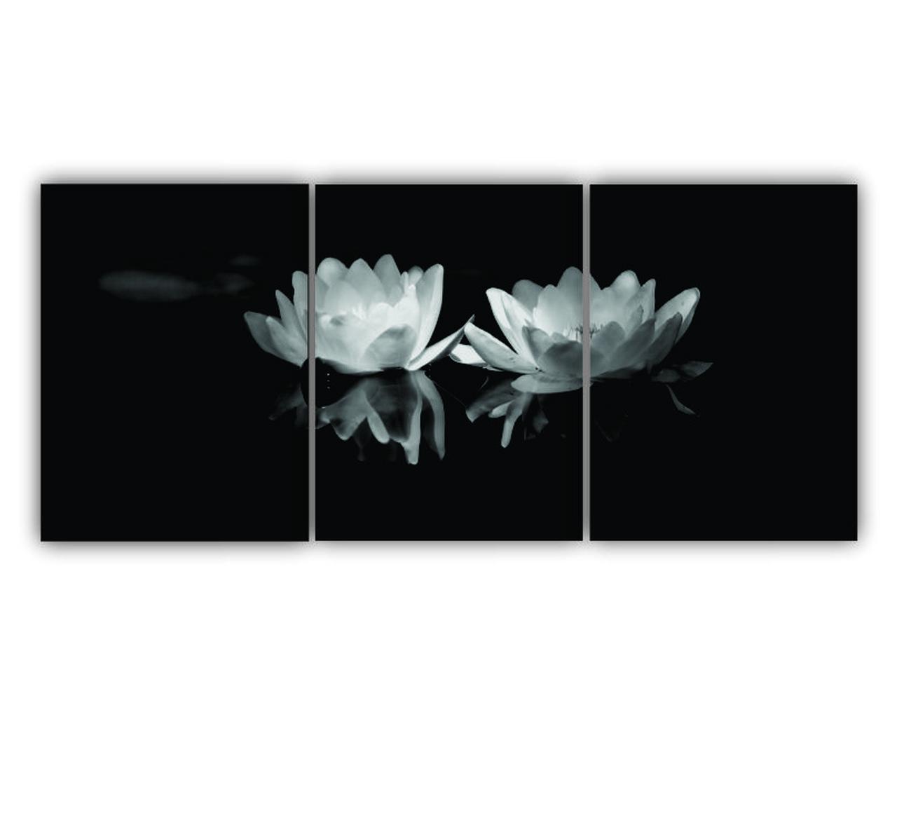 Quadro Lotus Moderno Preto e Branco - Kit 3 telas