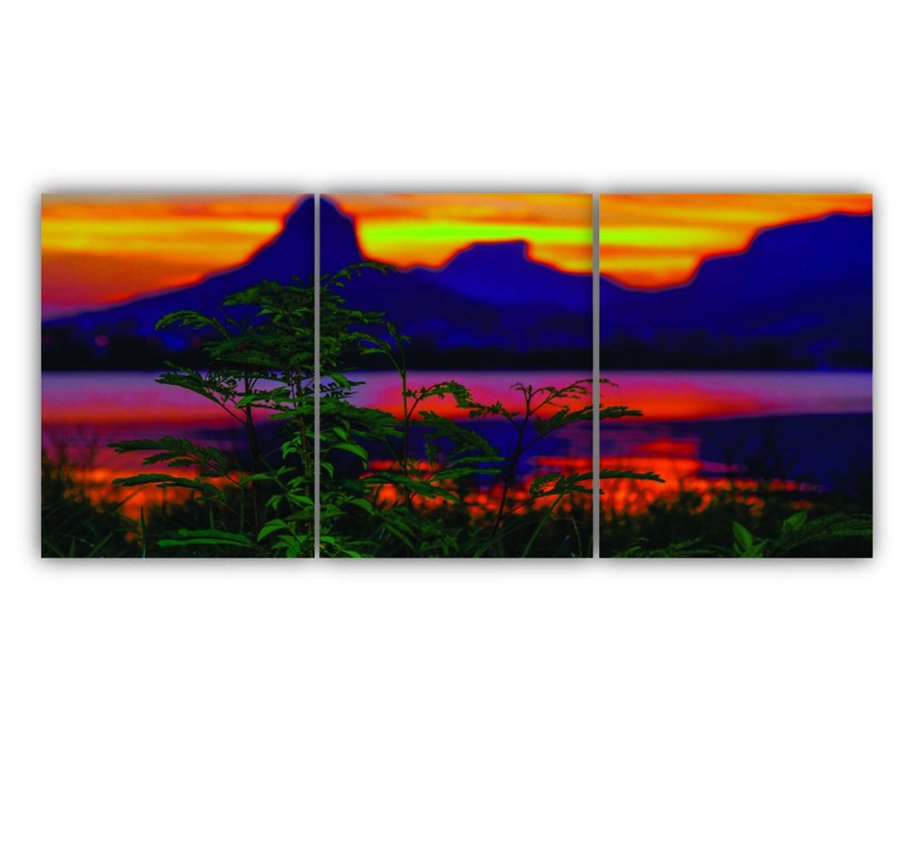 Quadro Paisagem Montanha Por do Sol - Kit 3 telas