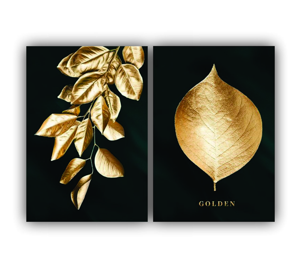 Quadro Luxo Moderno Folhas de Ouro -  Kit 2 telas