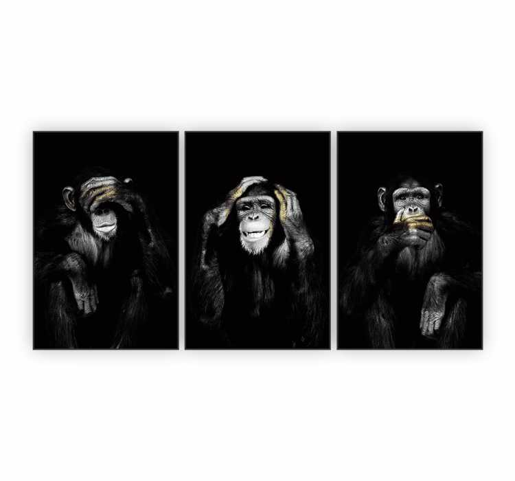 Quadro Macacos Sábios Preto e Branco Animal Divertido - Kit 3 telas