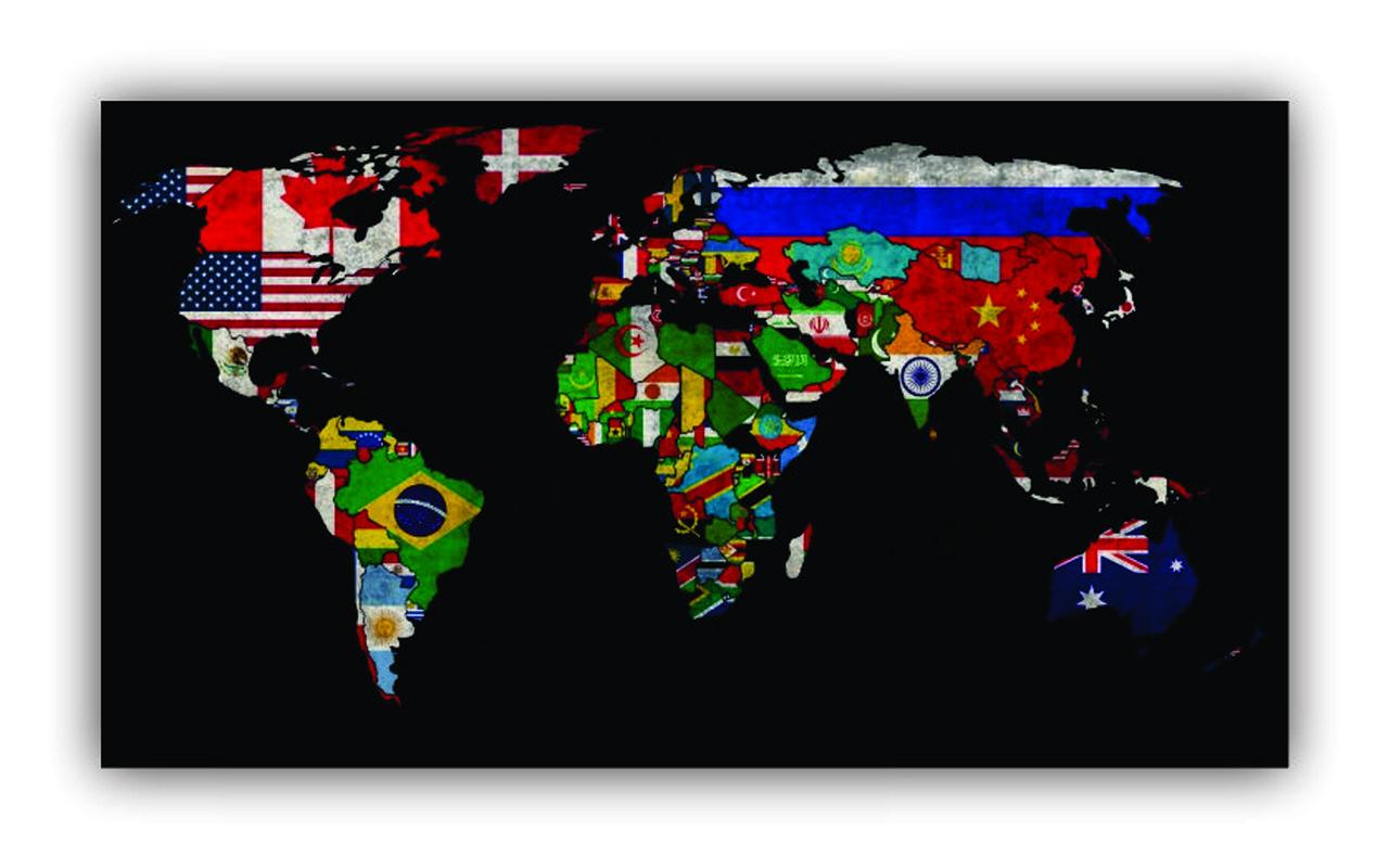 Quadro Mapa Mundi Bandeiras  Países - Tela Única