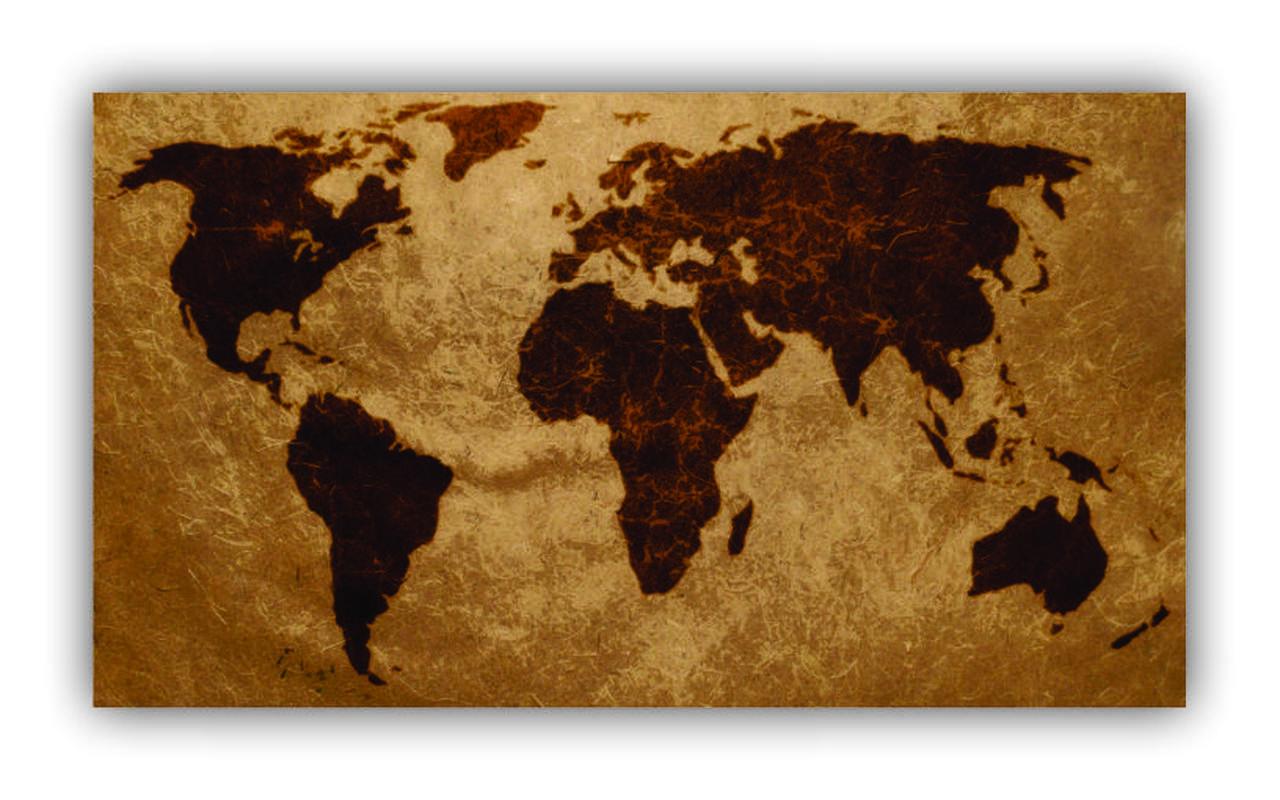 Quadro Mapa Mundi Envelhecido - Tela Única