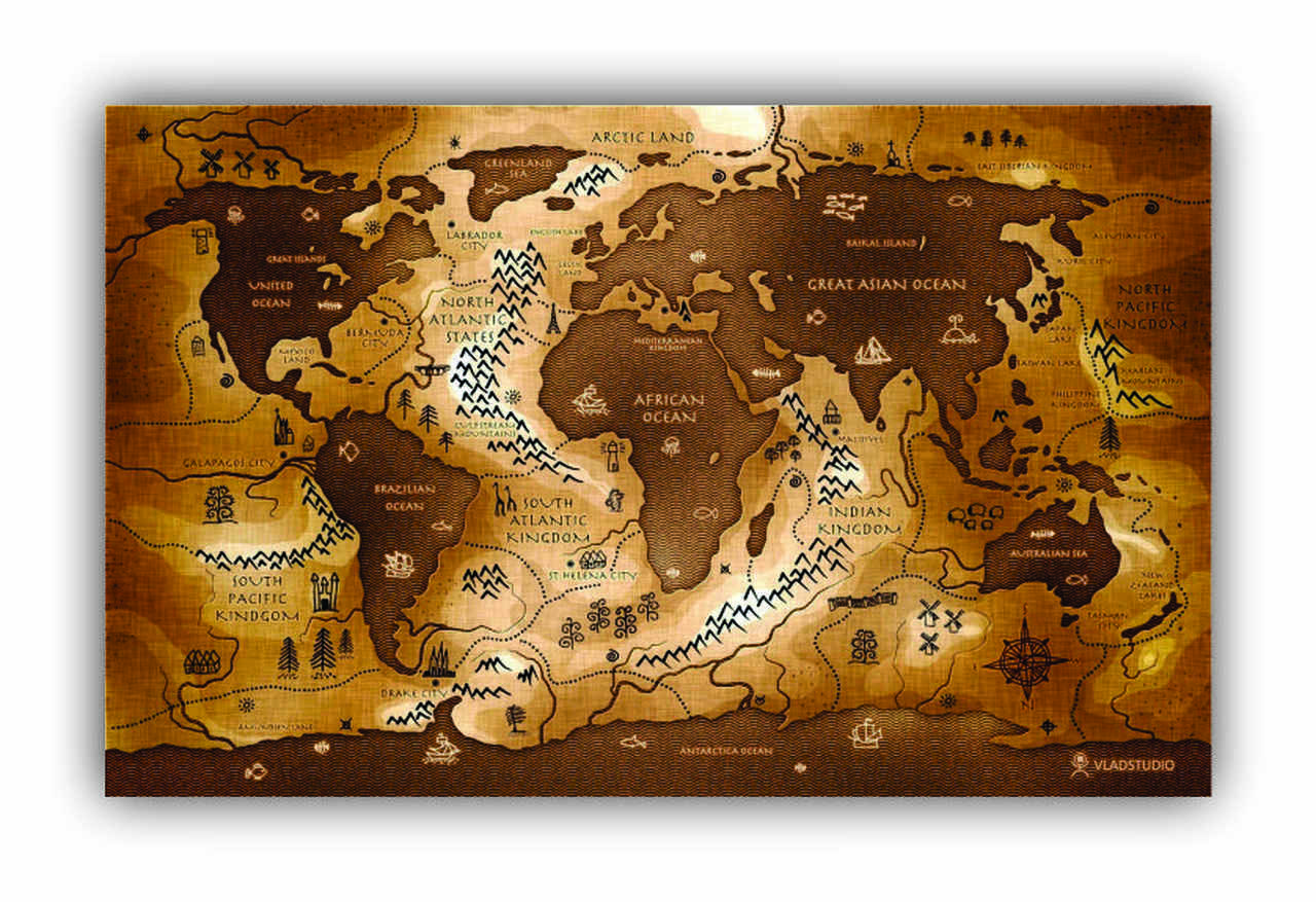 Quadro Mapa Mundi Pergaminho - Tela Única