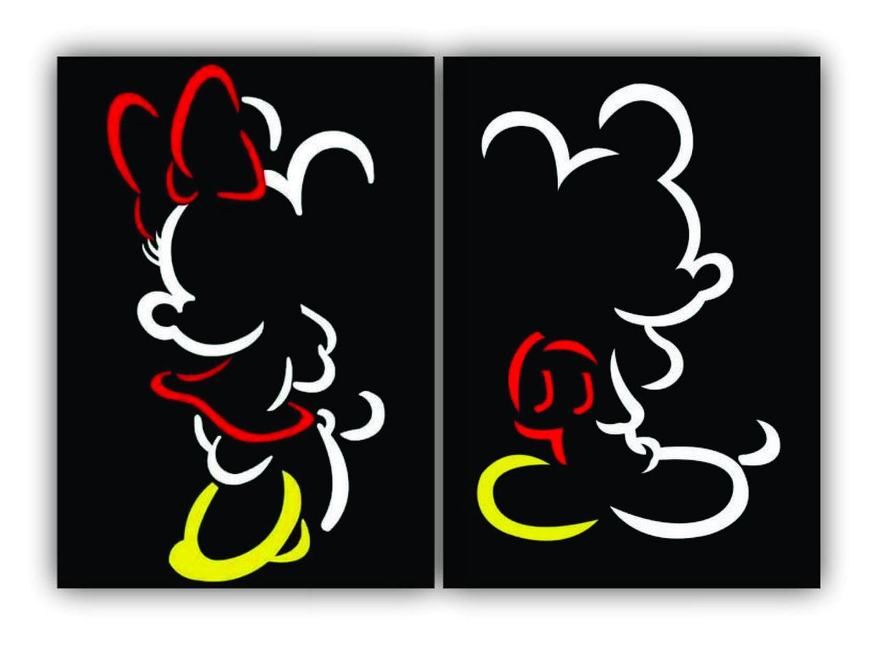 Quadro Mickey e  Minnie Preto  -  Kit 2 telas