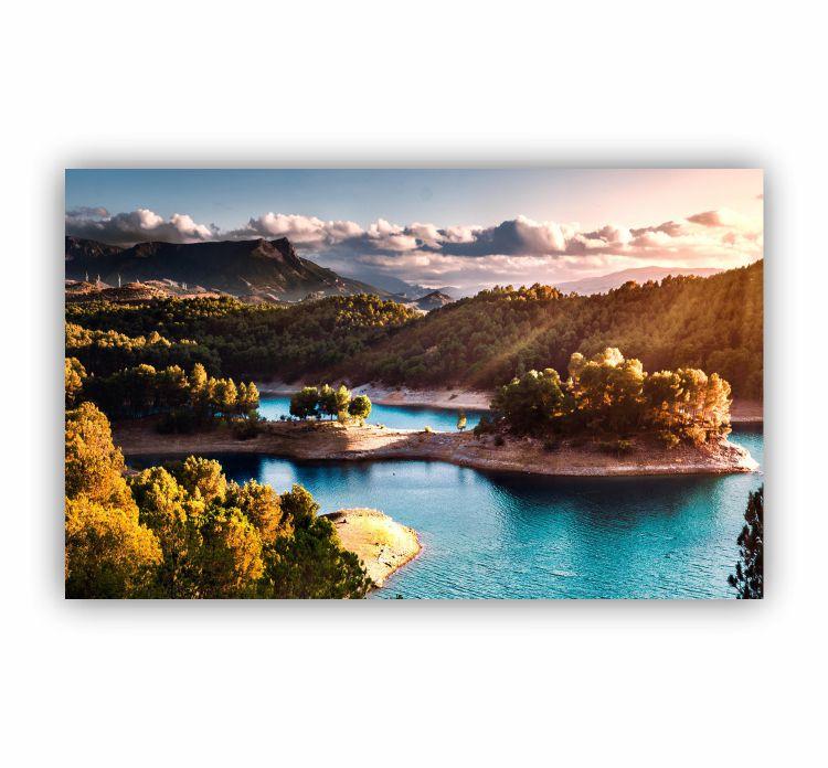 Quadro Montanhas e Lago Paradisíaco - Tela Única