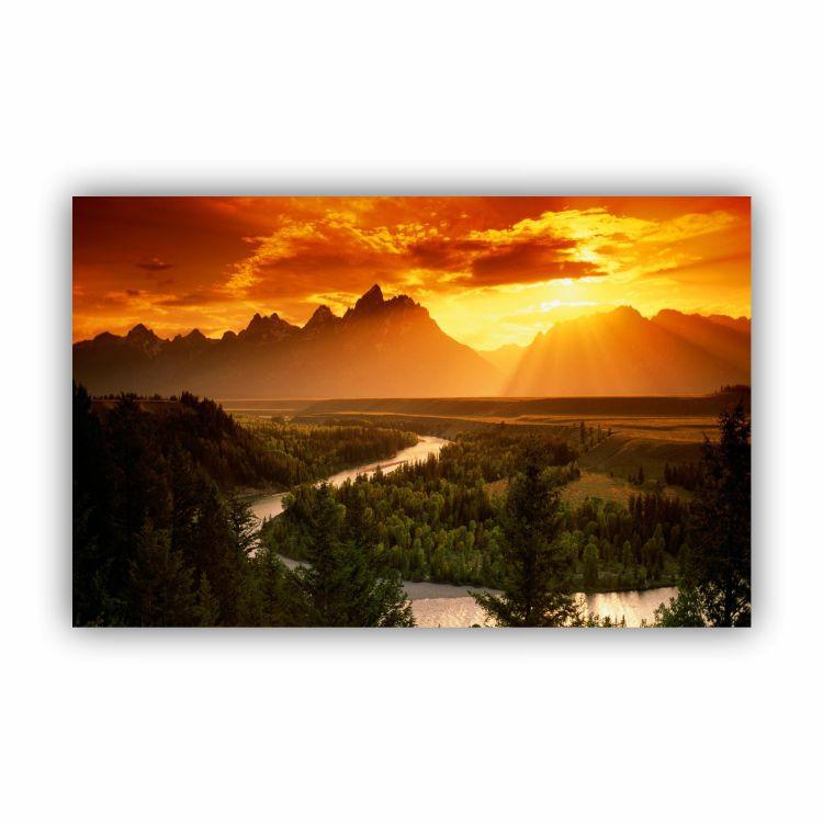 Quadro Montanhas Pôr do Sol Calmaria - Tela Única